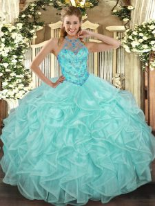 Apple Green Lace Up Quinceanera Dresses Beading and Ruffles Sleeveless Floor Length