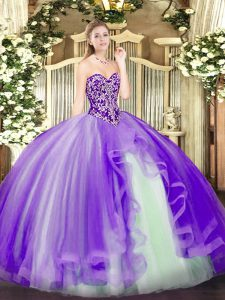 Beautiful Lavender Ball Gowns Tulle Sweetheart Sleeveless Beading and Ruffles Floor Length Lace Up Vestidos de Quinceanera
