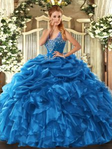 Sexy Straps Sleeveless Organza Quinceanera Gowns Beading and Ruffles and Pick Ups Lace Up