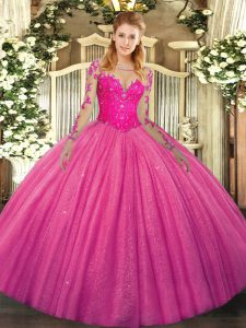 Hot Pink Quince Ball Gowns Military Ball and Sweet 16 and Quinceanera with Lace Scoop Long Sleeves Lace Up