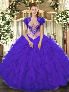 Fabulous Purple Sweetheart Neckline Beading and Ruffles Quince Ball Gowns Sleeveless Lace Up