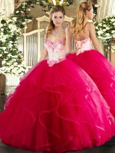 Designer Sweetheart Sleeveless Lace Up Quinceanera Dresses Hot Pink Tulle
