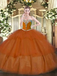Classical Sweetheart Sleeveless Lace Up Quince Ball Gowns Rust Red Tulle