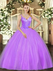 Smart Lavender Ball Gowns Beading 15 Quinceanera Dress Lace Up Tulle Sleeveless Floor Length