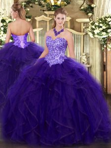 Sleeveless Appliques and Ruffles Lace Up Sweet 16 Dress