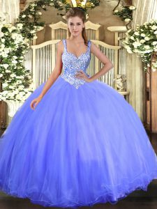 Superior Sleeveless Tulle Floor Length Lace Up Quinceanera Dress in Blue with Beading