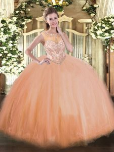 Scoop Sleeveless Tulle Sweet 16 Quinceanera Dress Beading Lace Up