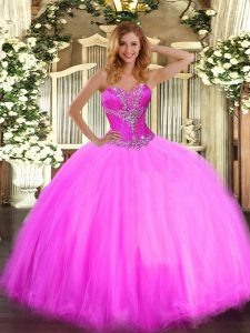 Superior Sleeveless Beading Lace Up Sweet 16 Dress