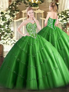Beauteous Sweetheart Sleeveless Sweet 16 Dress Floor Length Beading and Appliques Green Tulle