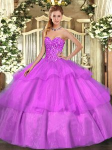 Lilac Ball Gowns Sweetheart Sleeveless Tulle Floor Length Lace Up Beading and Ruffled Layers Quinceanera Gowns