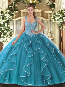 Best Selling Teal Quinceanera Dresses Military Ball and Sweet 16 and Quinceanera with Beading V-neck Sleeveless Lace Up