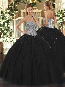 Simple Floor Length Ball Gowns Sleeveless Black Quinceanera Gown Lace Up