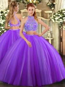 Lavender Sleeveless Floor Length Beading Criss Cross Quinceanera Gown