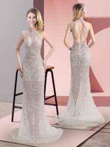 Excellent Champagne Backless Halter Top Beading Prom Party Dress Tulle Sleeveless Sweep Train