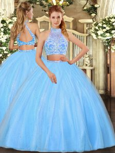 Aqua Blue Quinceanera Dresses Military Ball and Sweet 16 and Quinceanera with Beading Halter Top Sleeveless Criss Cross