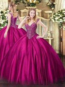 Exquisite Fuchsia Satin Lace Up V-neck Sleeveless Floor Length Quinceanera Dress Beading