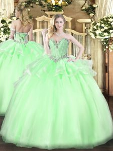 Apple Green Quinceanera Gown Military Ball and Sweet 16 and Quinceanera with Beading Sweetheart Sleeveless Lace Up