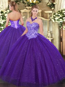 Tulle Sweetheart Sleeveless Lace Up Beading Sweet 16 Dress in Purple