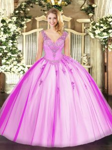 Sumptuous Sleeveless Beading Lace Up 15th Birthday Dress