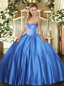 Cute Satin Sleeveless Floor Length 15 Quinceanera Dress and Beading