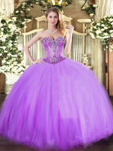 Flirting Sleeveless Tulle Floor Length Lace Up Quinceanera Gowns in Lavender with Beading