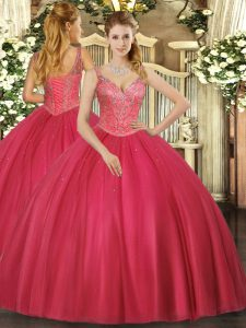 Red Sleeveless Beading Floor Length 15th Birthday Dress