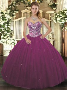 Burgundy Ball Gowns Beading Vestidos de Quinceanera Lace Up Tulle Sleeveless Floor Length
