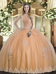 Excellent Ball Gowns Sweet 16 Dress Peach High-neck Tulle Sleeveless Floor Length Lace Up