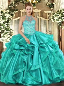 Modern Organza Halter Top Sleeveless Lace Up Beading and Embroidery and Ruffles Quinceanera Gown in Turquoise