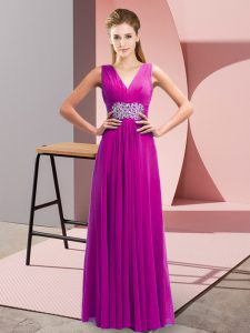 Artistic Chiffon V-neck Sleeveless Side Zipper Beading and Ruching Dress for Prom in Fuchsia