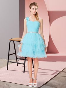 Affordable Aqua Blue Lace Up One Shoulder Beading and Ruffled Layers Prom Gown Organza Sleeveless