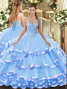 Blue Lace Up Straps Beading and Ruffled Layers Quinceanera Gowns Organza Sleeveless