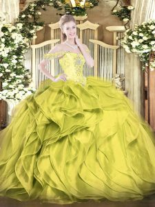 Exquisite Olive Green Lace Up Sweet 16 Quinceanera Dress Beading and Ruffles Sleeveless Floor Length