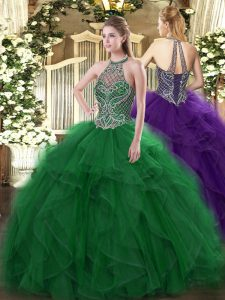 Green Organza Lace Up Quinceanera Dress Sleeveless Floor Length Beading and Ruffles