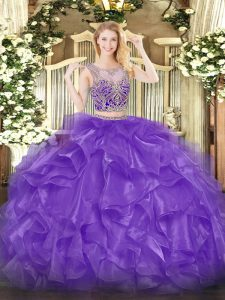 Fitting Floor Length Eggplant Purple Quinceanera Gown Scoop Sleeveless Lace Up