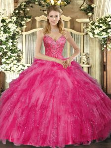 V-neck Sleeveless Lace Up Ball Gown Prom Dress Hot Pink Tulle