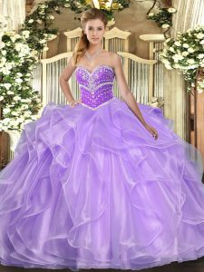 Stylish Lavender Ball Gowns Organza Sweetheart Sleeveless Beading and Ruffles Floor Length Lace Up Sweet 16 Dresses