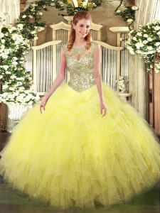 New Arrival Yellow Ball Gowns Tulle Scoop Sleeveless Beading and Ruffles Floor Length Lace Up Sweet 16 Dresses