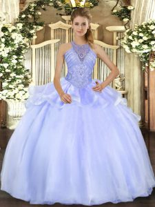Organza Halter Top Sleeveless Lace Up Beading Vestidos de Quinceanera in Blue