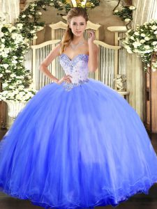 High Quality Blue Tulle Lace Up Vestidos de Quinceanera Sleeveless Floor Length Beading