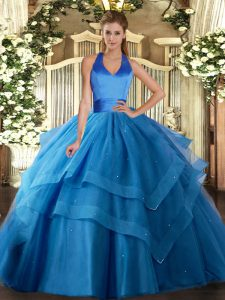 Glittering Blue Sleeveless Ruffled Layers Floor Length Quinceanera Dresses