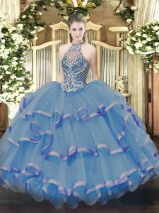Blue Organza Lace Up Quinceanera Dresses Sleeveless Floor Length Beading and Ruffles