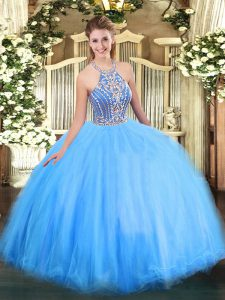 Halter Top Sleeveless Quinceanera Dress Floor Length Beading Blue Tulle