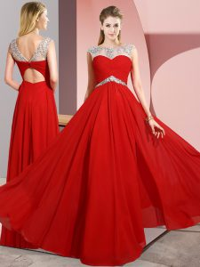 Red Chiffon Clasp Handle Dress for Prom Sleeveless Floor Length Beading