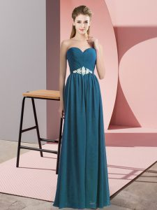 Teal Empire Sweetheart Sleeveless Chiffon Floor Length Lace Up Beading
