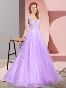 Tulle Sleeveless Floor Length Prom Party Dress and Lace