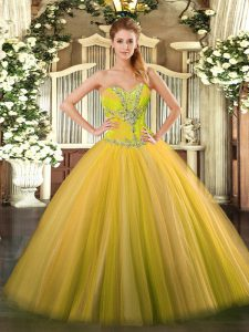 Tulle Sweetheart Sleeveless Lace Up Beading Sweet 16 Dresses in Gold