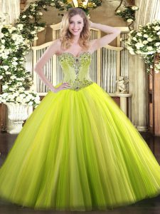 Floor Length Lace Up Sweet 16 Dresses Yellow Green for Sweet 16 and Quinceanera with Beading