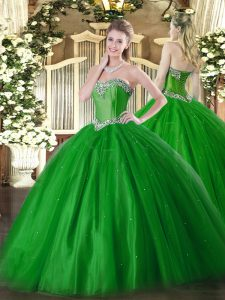 Exquisite Green Tulle Lace Up Sweetheart Sleeveless Floor Length Sweet 16 Quinceanera Dress Beading
