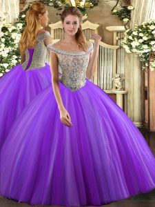 Floor Length Lace Up Quinceanera Gowns Lavender for Sweet 16 and Quinceanera with Beading